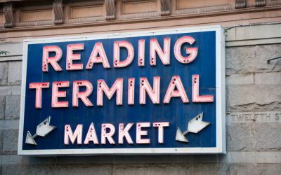 reading terminal market sign in Philadelphia near Penn's View Hotel