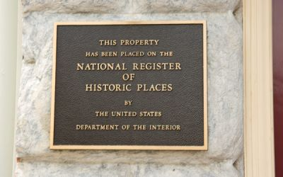 National register of historic places plaque at Penn's View Hotel in Philadelphia